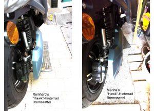 Unterschied der Abstände am Hinterrad - Anklicken zum Vergrössern